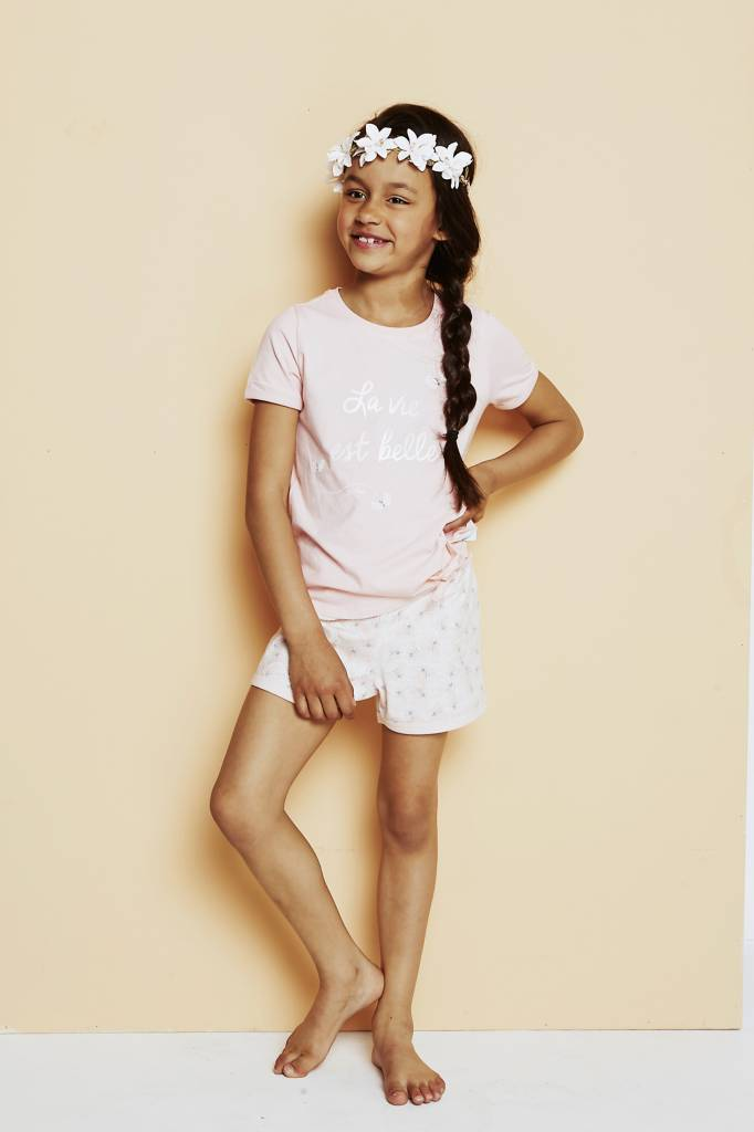 Girls pyjama short set Belle Pink | Charlie Choe
