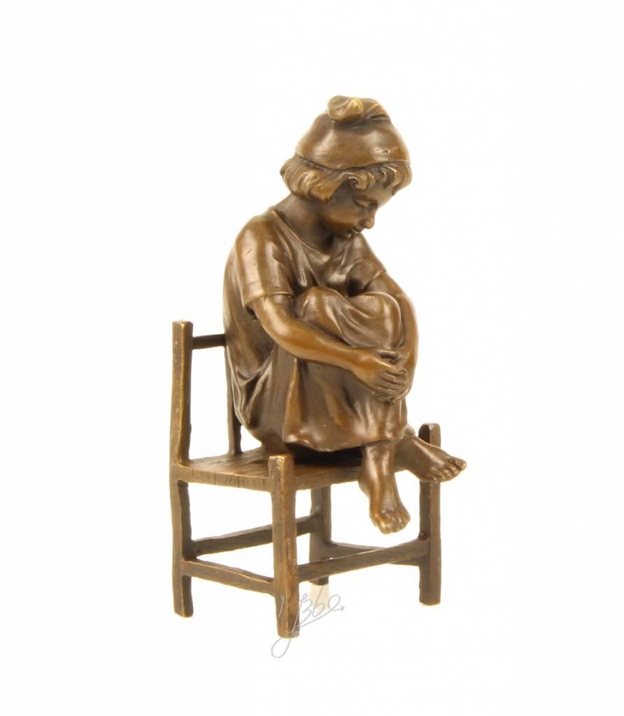 Bronze Sculpture Of A Little Girl On A Chair