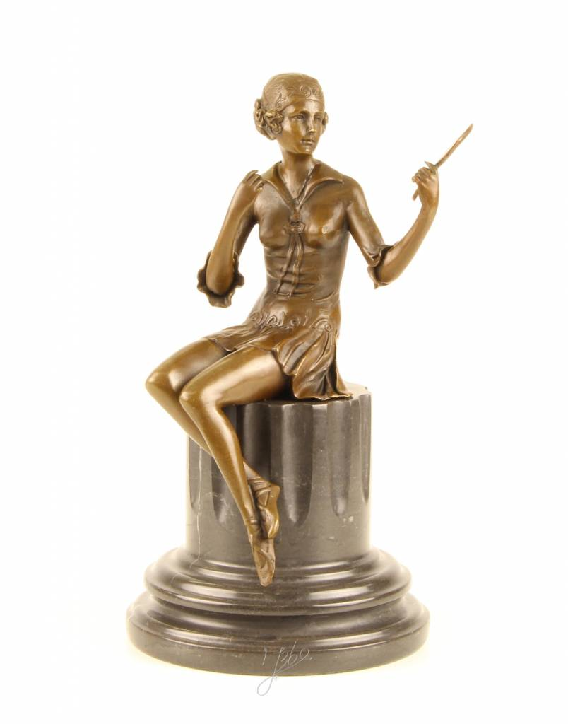 Bronze sculpture of a woman holding a hand mirror YourBronzecom