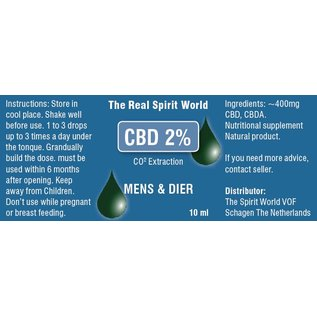 The Real Spirit World 10ml CBD olie Raw 2% The Real Spirit World