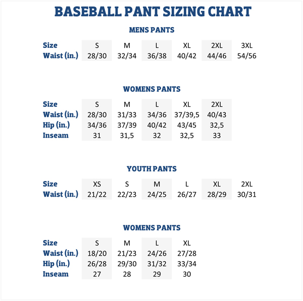 Rawlings size chart womens pants