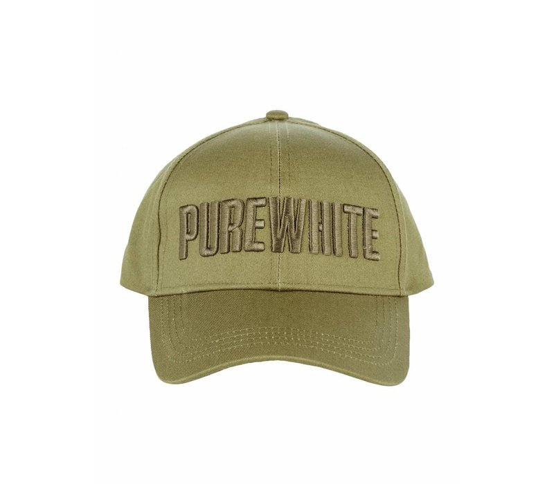PUREWHITE LOGO CAP ARMYPUREWHITE LOGO CAP IN BLACK, DETAILED WITH A EMBROIDERED LOGO ON THE FRONT PANEL AND SNAP CLOSURE //split//  THIS CAP HAS A 6 PANEL DESIGN WITH A SNAP CLOSURE  //split//  ONE SIZE //split//   DO NOT MACHINE WASH, BLEACH OR TUMBLE DR