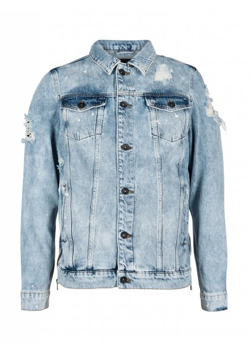 PUREWHITE DISTRESSED DENIM JACKET PAINT SPLATTERS LIGHT BLUE
