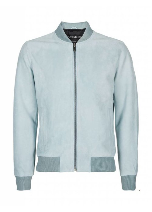 PUREWHITE SUEDE BOMBER  MINT BLUE