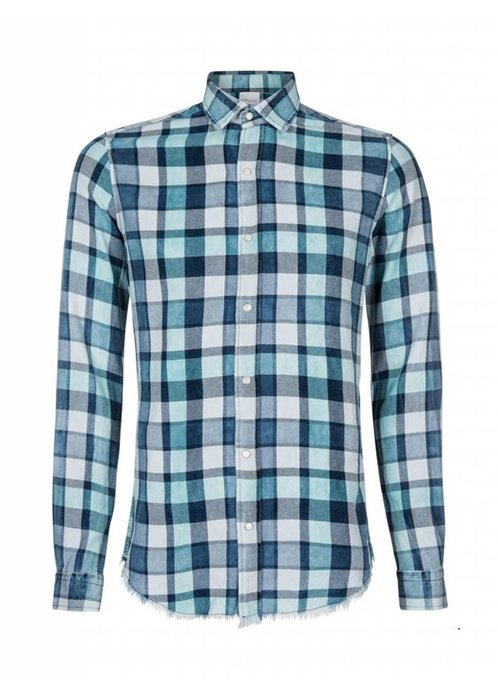 PUREWHITE WASHED CHECKED SHIRT MINT BLUE & WHITE