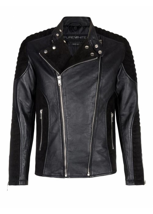 PUREWHITE LEATHER & SUEDE BIKER JACKET  BLACK