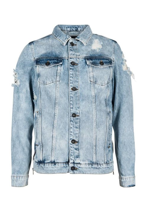 PUREWHITE DISTRESSED DENIM JACKET  LIGHT BLUE