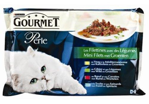 Gourmet 12x gourmet perle 4-pack pouch mini filets met groenten