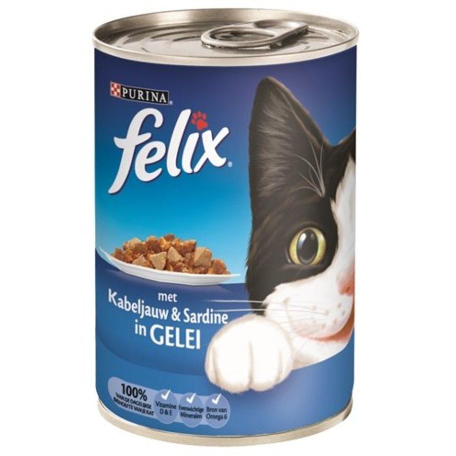 12x felix blik stukjes kabeljauw / sardine in gelei