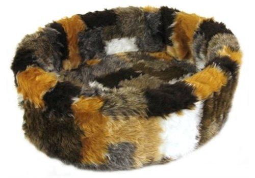 Petcomfort Petcomfort kattenmand bont lapjesdeken beige