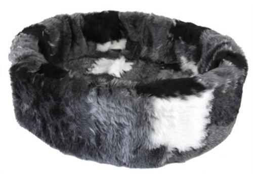 Petcomfort Petcomfort kattenmand bont lapjesdeken grijs