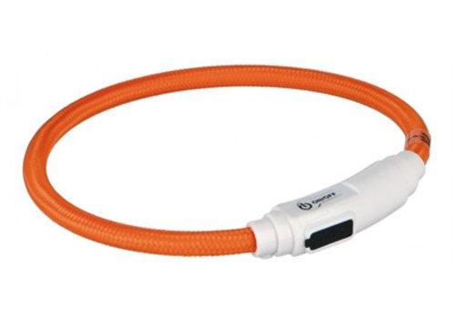 Trixie Trixie halsband kat flash light lichtgevend usb oplaadbaar oranje