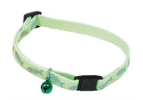 Martin sellier Kattenhalsband fluorisend groen met visgraat print