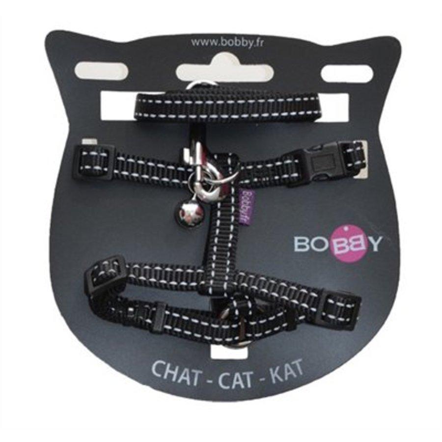 Bobby kattentuig en looplijn nylon reflecterend zwart