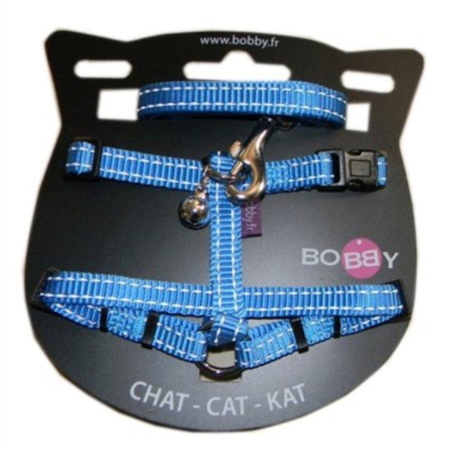 Bobby kattentuig en looplijn nylon reflecterend blauw
