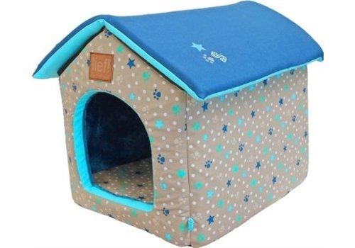 Lief! Lief! hondenmand / kattenmand huis boys beige / blauw
