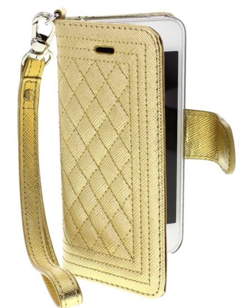 BYBI Lifestyle Fashion Brand Dazzling New York hoesje Goud Metallic iPhone 5S/5/SE
