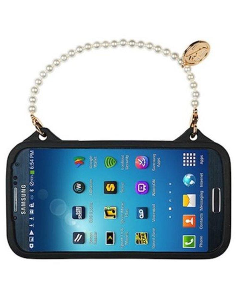 BYBI Lifestyle Fashion Brand Flower Zwart telefoontasje Samsung Galaxy S4