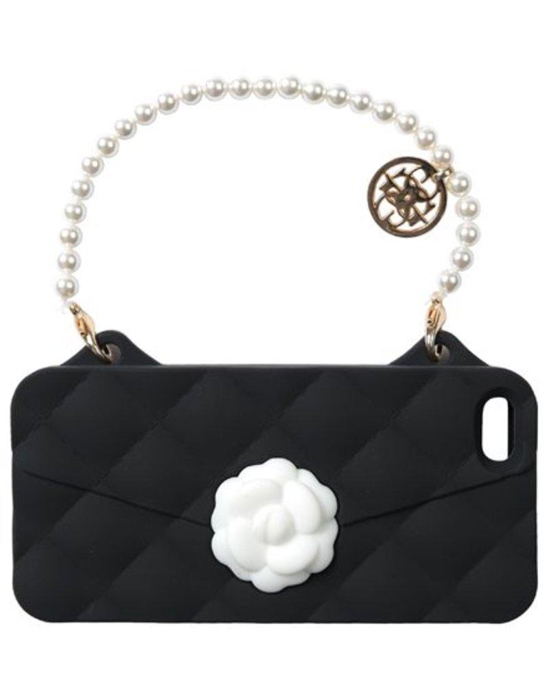 BYBI Lifestyle Fashion Brand Flower zwart telefoontasje iPhone 4S/4