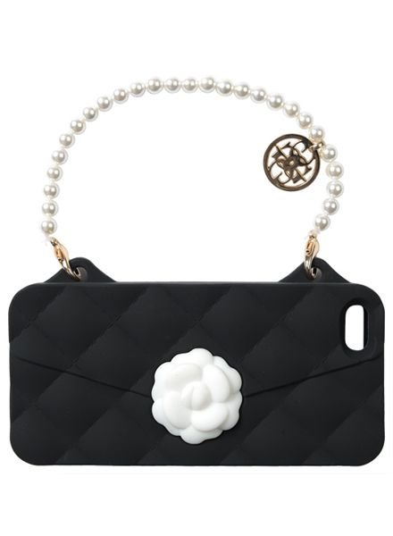 BYBI Lifestyle Fashion Brand Flower Zwart telefoontasje iPhone SE