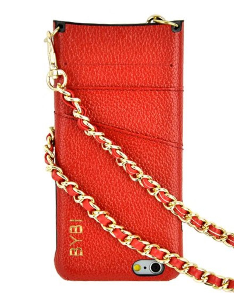 BYBI Lifestyle Fashion Brand I Am Stylish Hoesje Rood Wrapped in Leer iPhone 6S/6