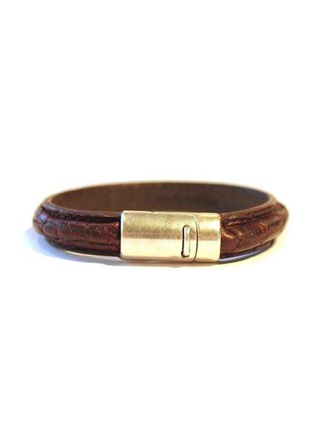 DLHC Croco armband medium donkerbruin