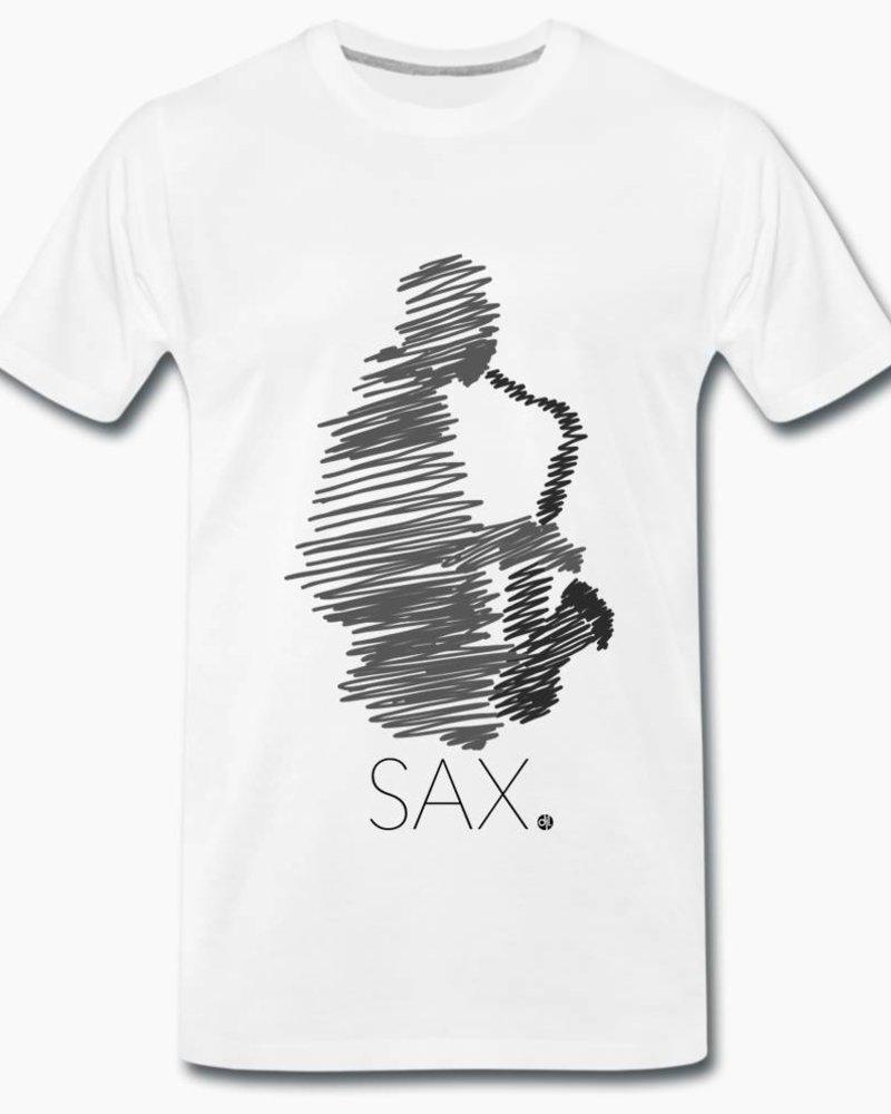 djl. Mannen T-shirt Premium wit Sax