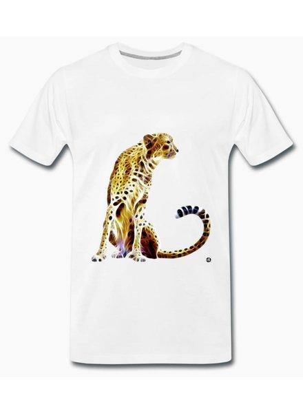 djl. Mannen T-shirt Premium Wit Cheetah