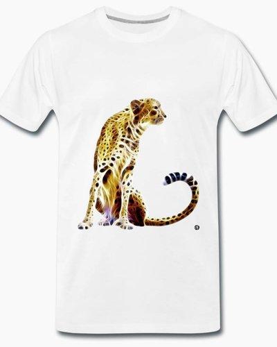 djl. Mannen T-shirt Premium Zwart Cheetah