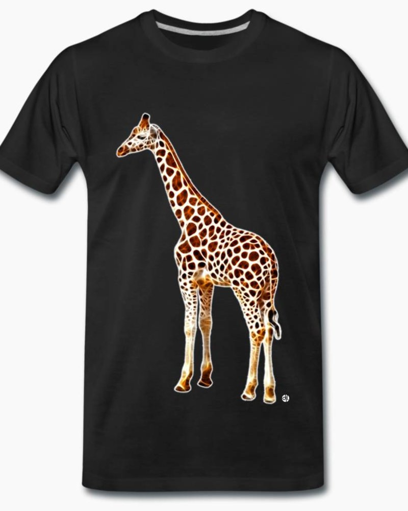 djl. Mannen T-shirt Premium Zwart Giraffe