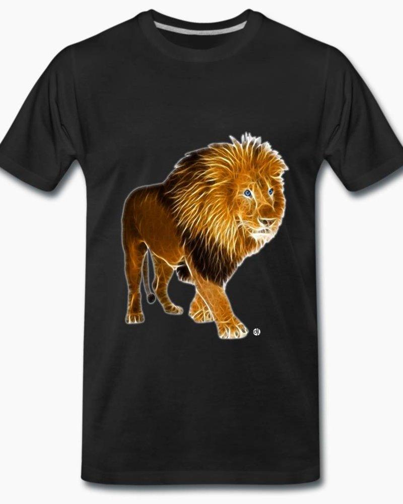 djl. Mannen T-shirt Premium Zwart Lion