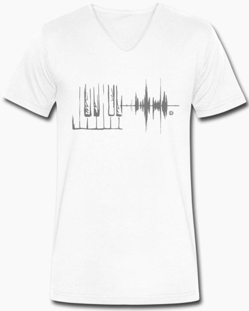 djl. Mannen V-shirt Premium Grijs Piano