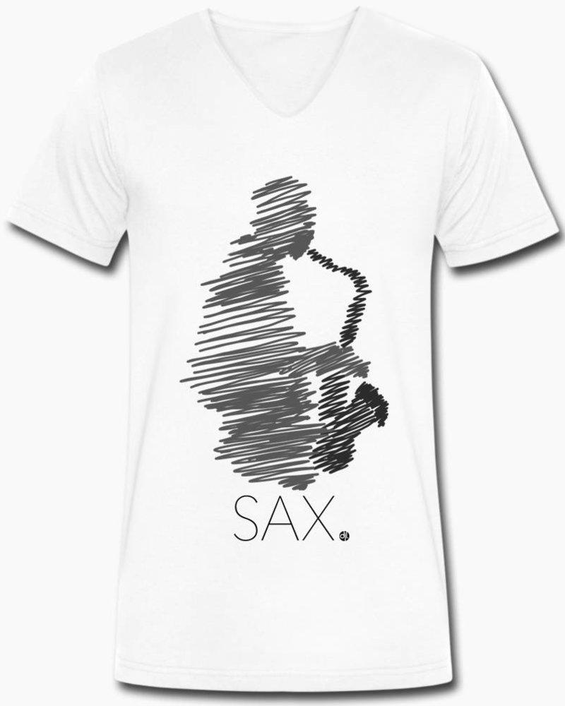 djl. Mannen V-shirt Premium Grijs Sax