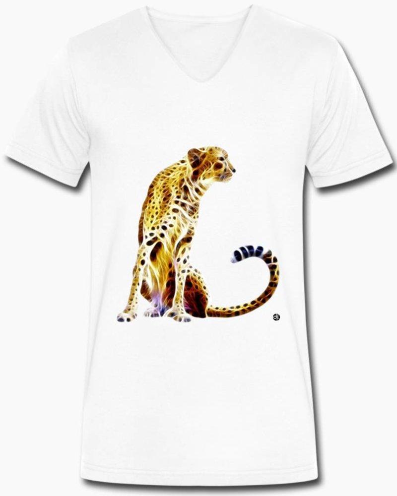 djl. Mannen V-shirt Premium Wit Cheetah