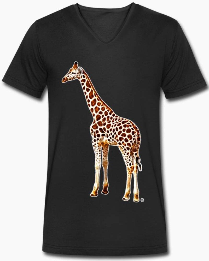 djl. Mannen V-shirt Premium Wit Giraffe