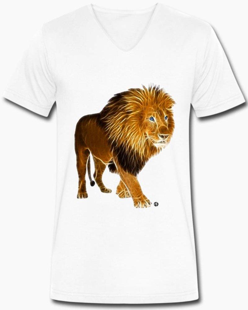 djl. Mannen V-shirt Premium Wit Lion