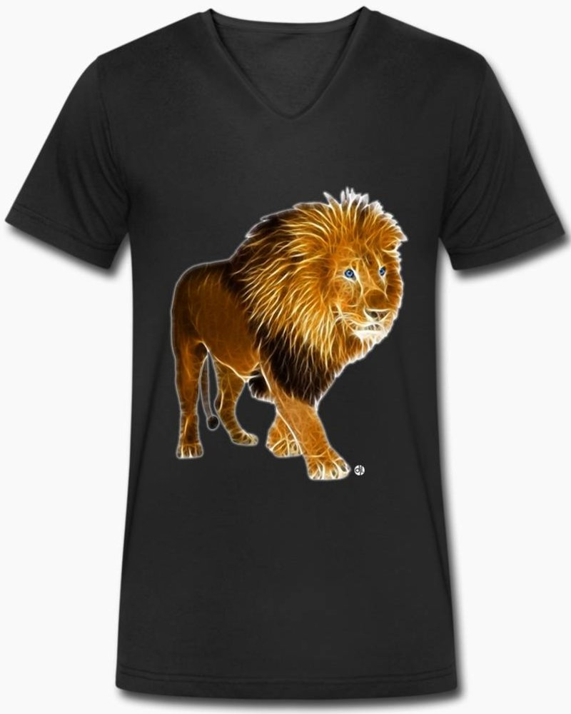 djl. Mannen V-shirt Premium Zwart Lion