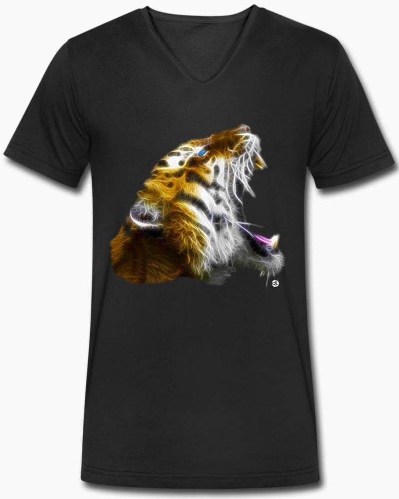 djl. Mannen V-shirt Premium Zwart Tiger