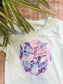 T-shirt vert pastel Simba rose imprimé jungle