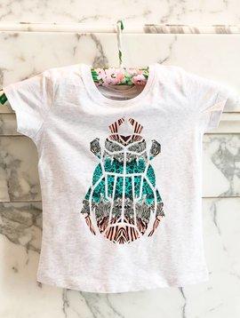 T-shirt lichtgrijs kever zebraprint
