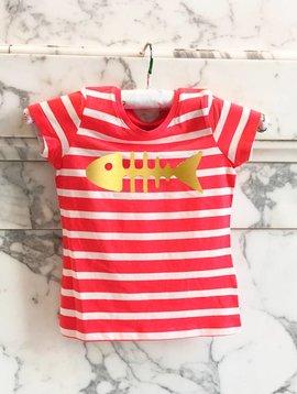 T-shirt rouge rayé / blanc herringbone heureux