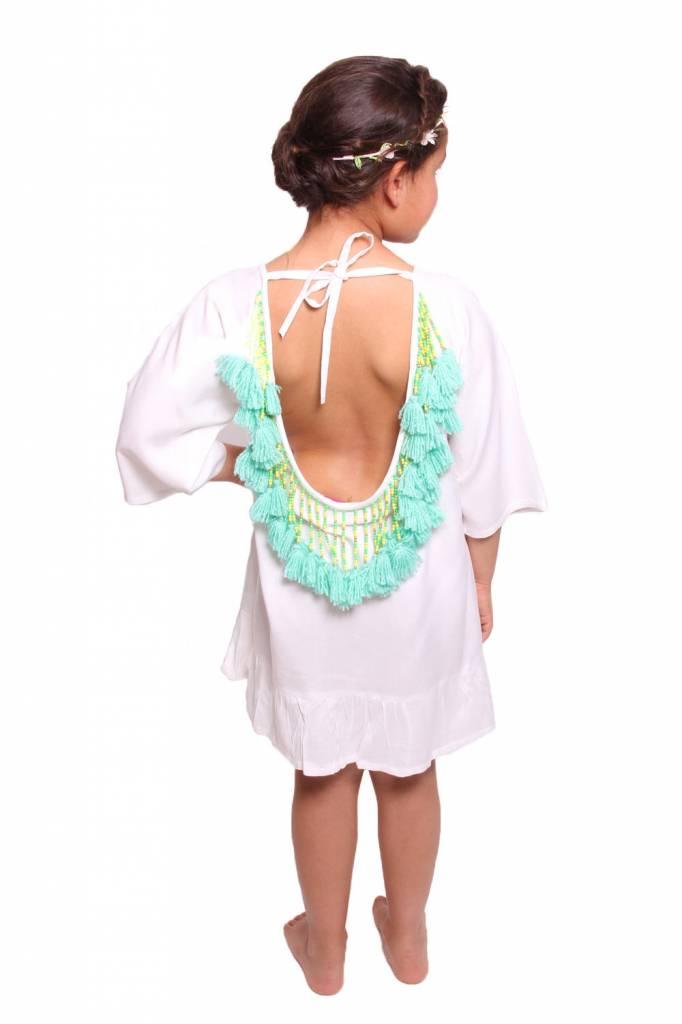 Sundress Alaia Baby White/Turquoise