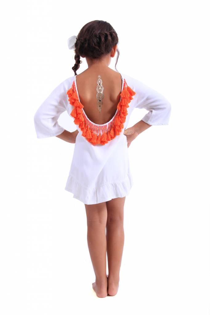 Sundress Alaia Baby White/Orange