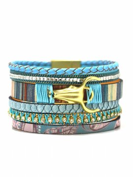 Armband 5 row leather turqouise
