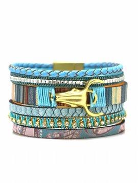 Nilu Armband 5 row leather turqouise