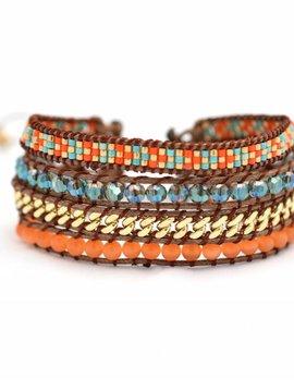 Nilu Armband The Miyuki Split oranje/bruin/turq