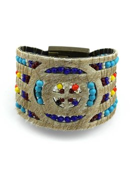 Nilu Armband leder 'The glitter gold bracelet'  turqouise