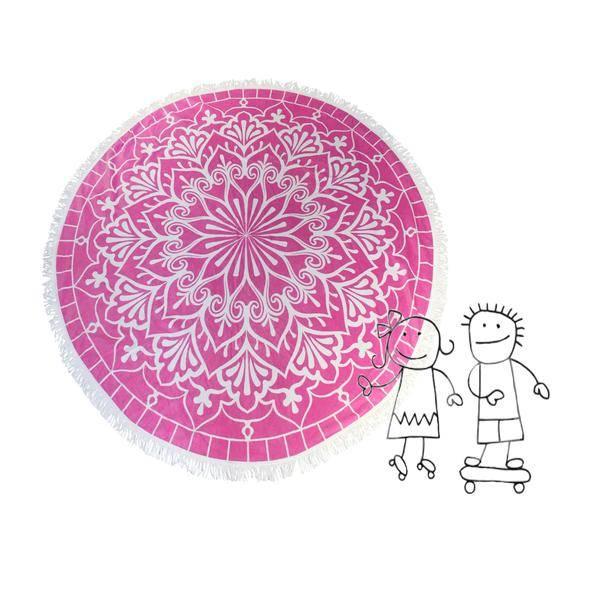 Habibah Kids round beach towel blushing pink
