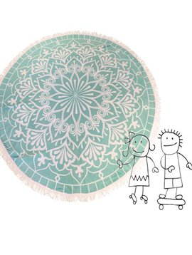 Round beach towel kids mermaid green LAST ONE