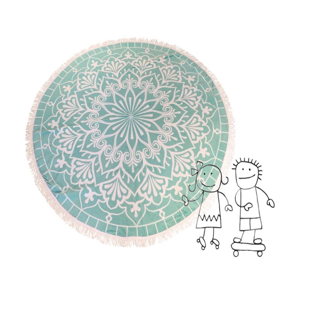 Strandlaken rond kids zeegroen Habibah - MissMillaShop.com